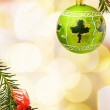 Christmas border with Irish green bauble — Stock Photo #2563693