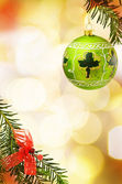 Christmas border with Irish green bauble — Stock Photo