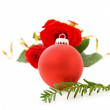 Christmas red bauble and roses — Stock Photo #2615540