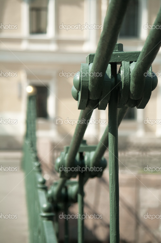 Detail of an old suspension bridge (XIX-th century) — Stock Photo #1137659
