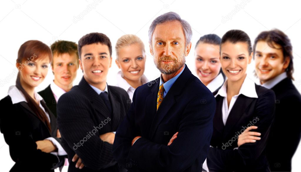 Business man and his team isolated over a white background — Stock Photo #1139134