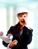 Attractive lady architect — Stock Photo
