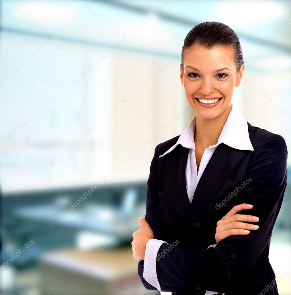 Positive business woman smiling over white background — Стоковая фотография #1144038