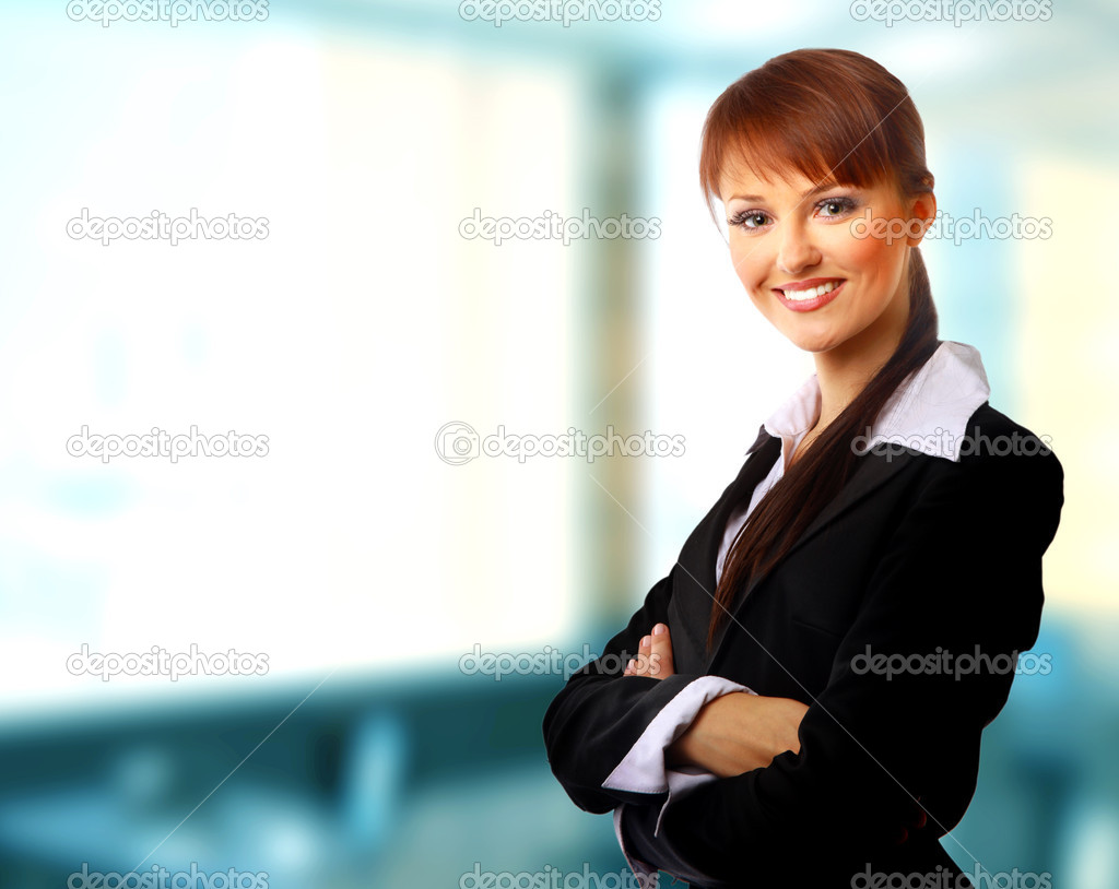 Positive business woman smiling over white background — Stock Photo #1144193