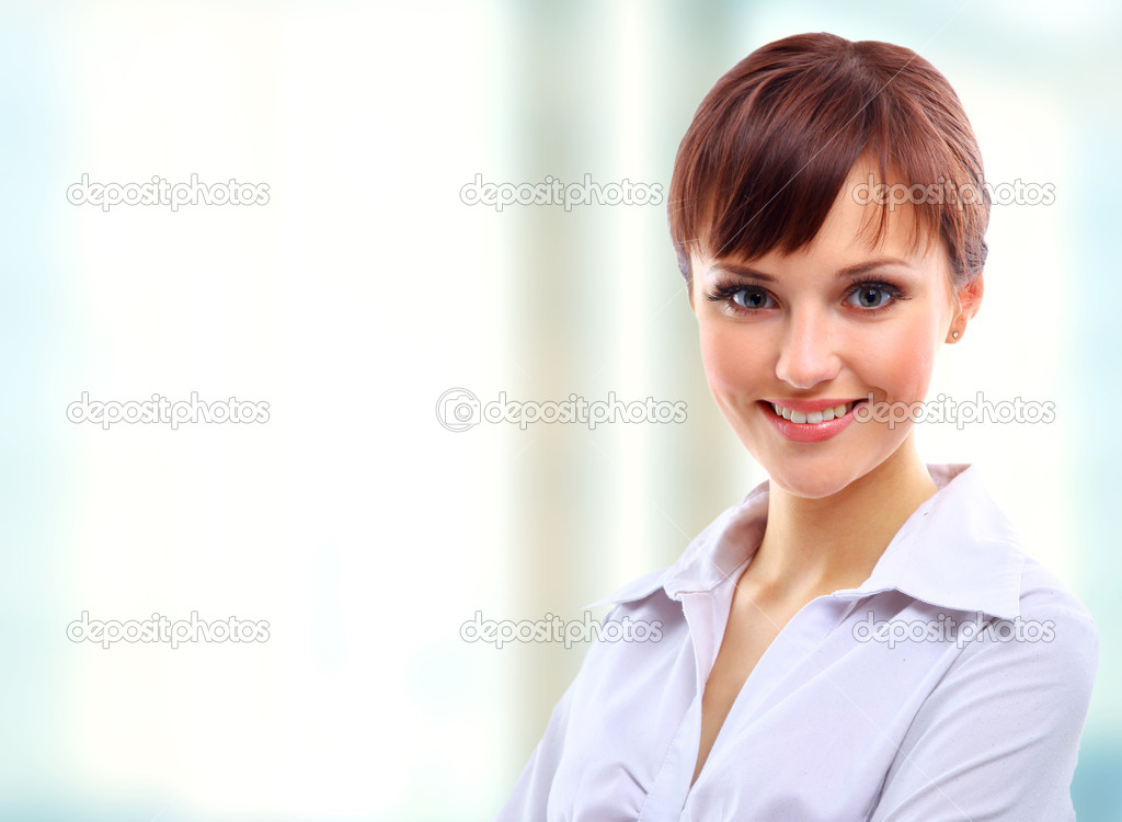 Positive business woman smiling over white background — Lizenzfreies Foto #1147111