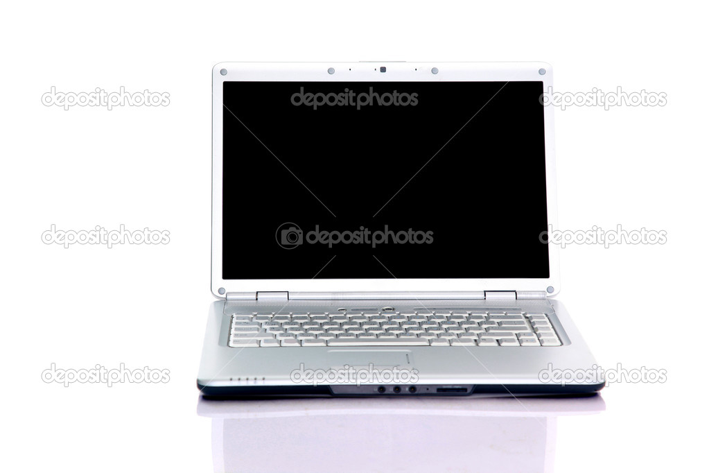 Modern laptop isolated on white with reflections on glass table. — Stock Photo #1159795