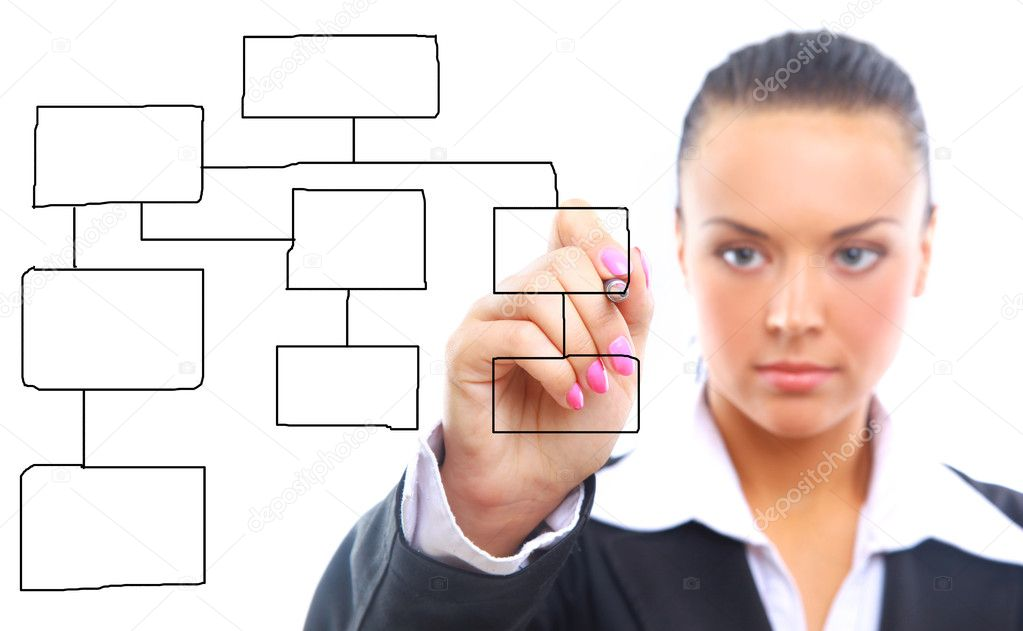 Business woman designing a plan on screen — Stock Photo #1160400