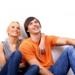 Young love smiling couple in the new flat — Stock Photo #2529323