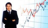 Business man handing a blank business ca — Stock Photo