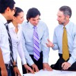 Business men and women working on blue prints — Stock Photo #2535001