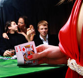 Group of sinister poker players — Stock Photo