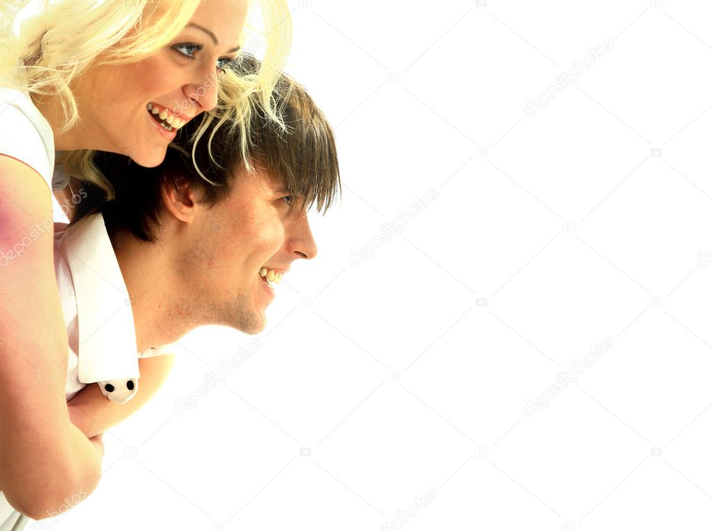 Happy smiling couple in love. Over white background  Stock Photo #2532490