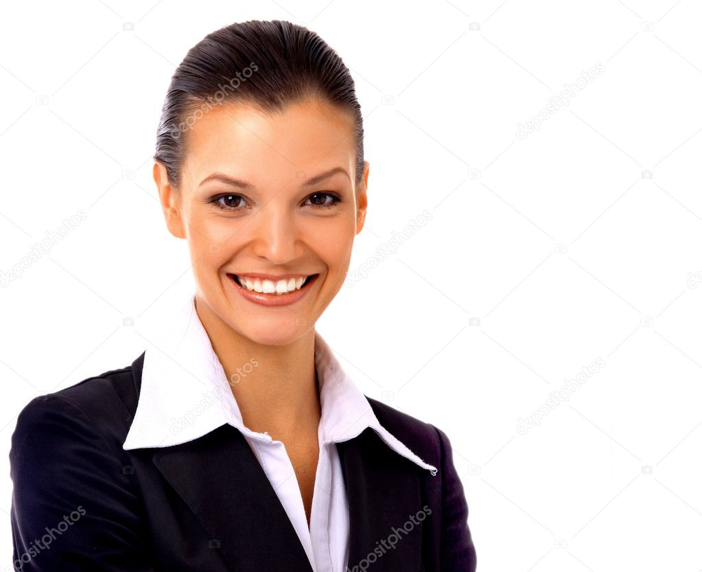 Positive business woman smiling over white background — Foto Stock #2534246