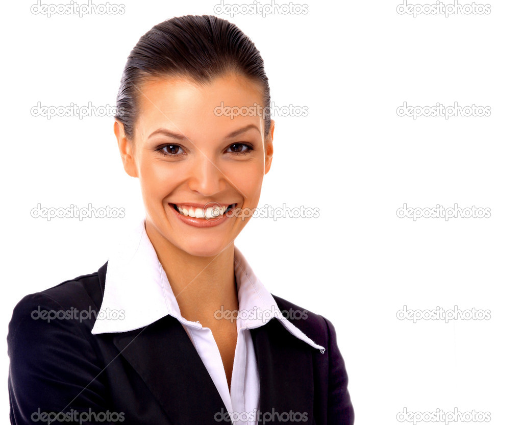 Positive business woman smiling over white background  Foto de Stock   #2534246