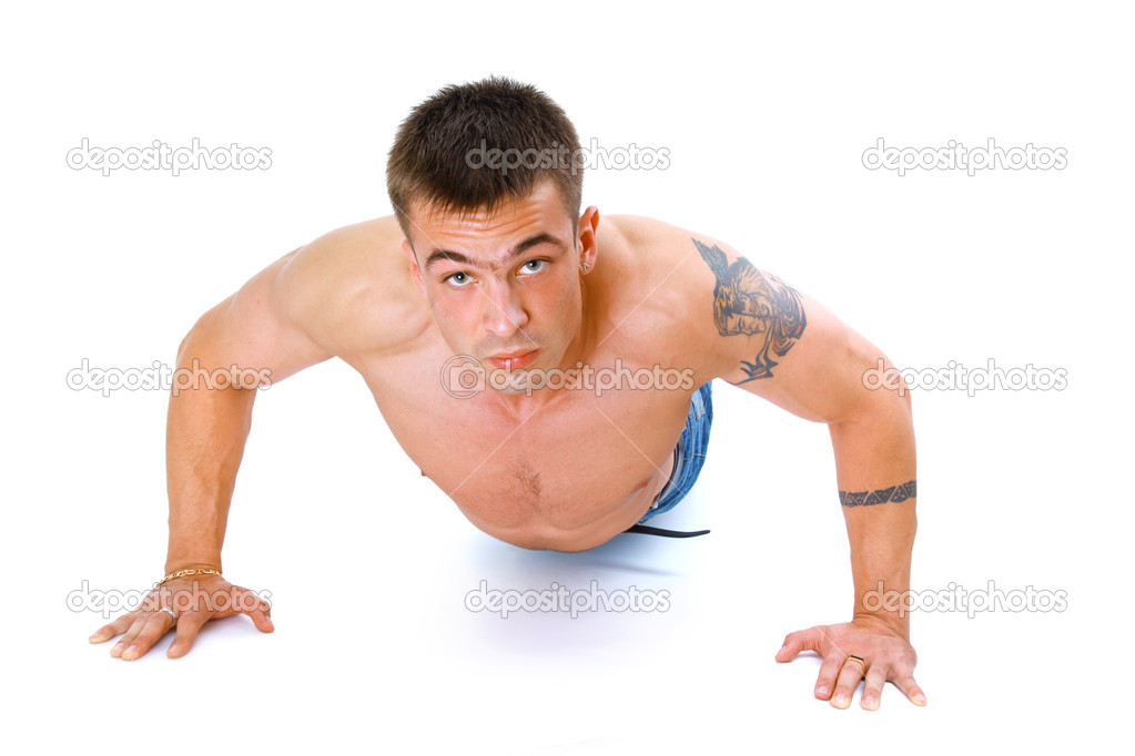 Muscular man with strong arms and nice abs  — Stock Photo #2535905