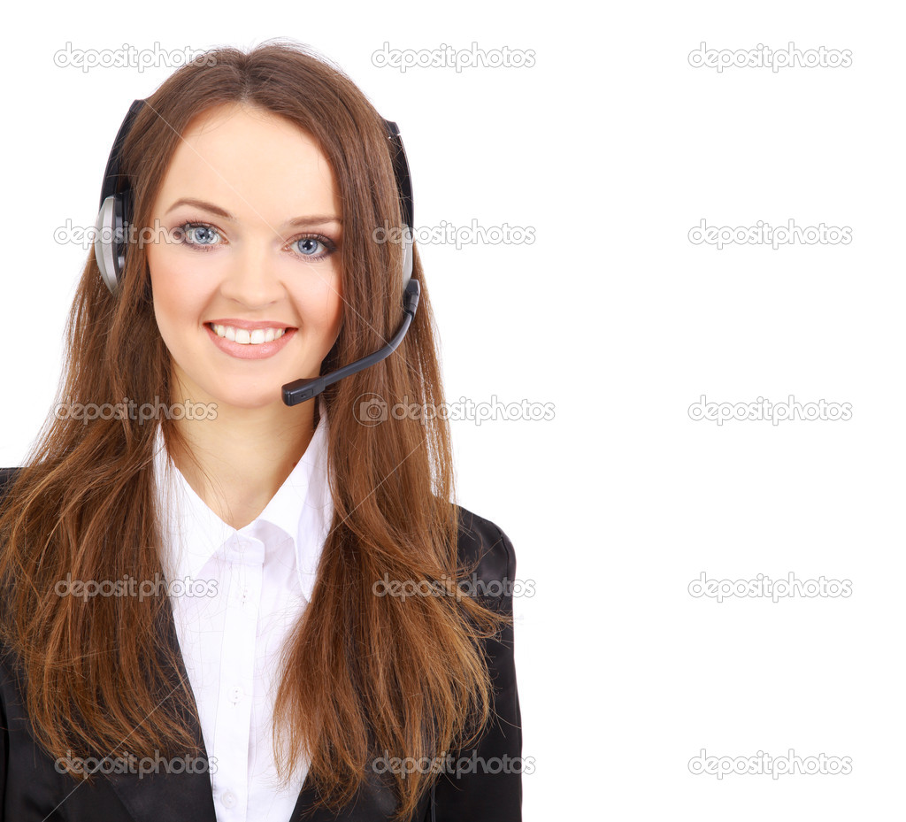 Woman wearing headset in office; could be receptionist — Stock Photo #2536351
