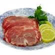 Slices of fresh pork meat — Stock Photo