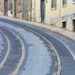 Tram rails in Lisbon, Portugal — Stock Photo