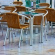 Empty tables in street cafe — Stock Photo #1150998