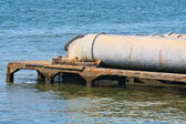 A closeup of large sewage pipes — Stock Photo