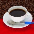 Coffee cup over red background — Stock Photo