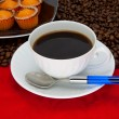 Coffee cup over red background — Stockfoto