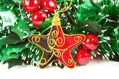 Weihnachts-Dekorationen auf weißem backgroun — Stockfoto