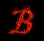 Fire font. Letter B from alphabet — Stock Photo