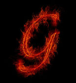 Fire font. Letter G from alphabet — Stock Photo
