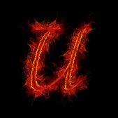 Fire font. Letter U from alphabet — Stock Photo