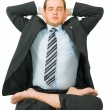 Royalty-Free Stock Photo: Businessman meditating in yoga style