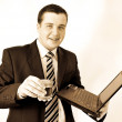 Businessman in sepia style — Stock Photo
