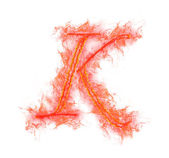 Fire alphabet - letter K — Stock Photo