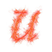 Fire alphabet - letter U — Stock Photo