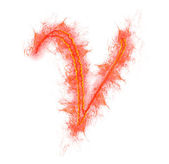 Fire alphabet - letter V — Stock Photo