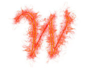 Fire alphabet - letter W — Stock Photo