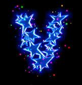 Vánoční hvězda abeceda - písmeno v — Stock fotografie