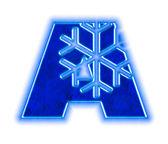 Winter snowflake alphabet - letter A — Stock Photo