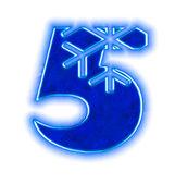 Police de flocon de neige hiver - numéro cinq — Photo