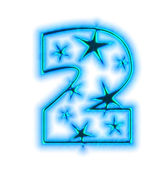 Christmas star font - number two — Stock Photo