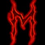 Дьявол огонь шрифт - буква M — Стоковое фото