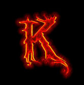 Gothic fire font - letter K — Stock Photo
