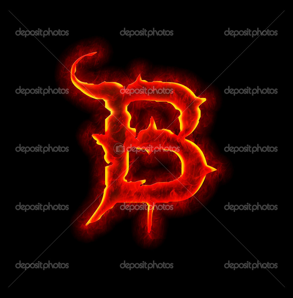 B Letter In Fire Gothic fire font - letter B