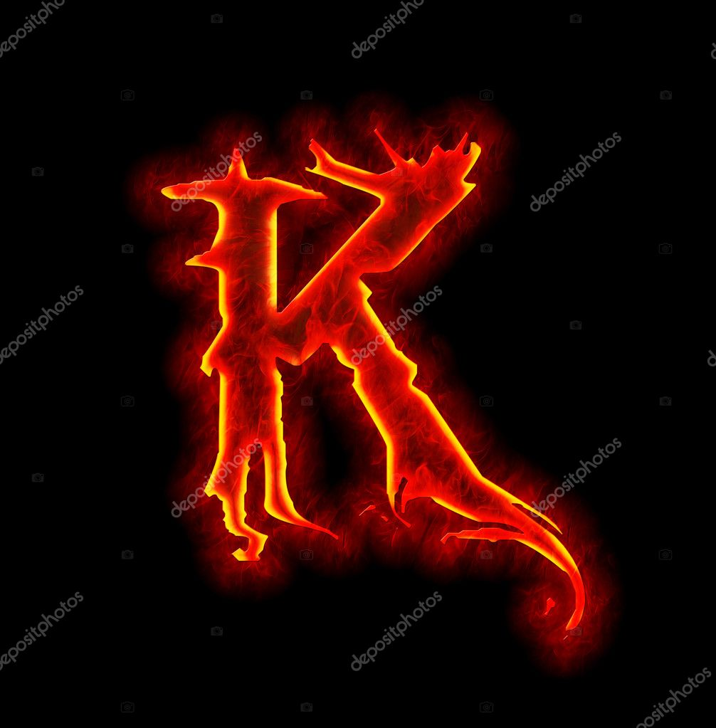 Gothic fire font...K Logo In Fire