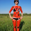 Woman ladybird body art on nature — Stock Photo