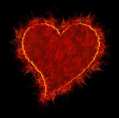 Fire heart symbol made of fire flames — Stock Photo