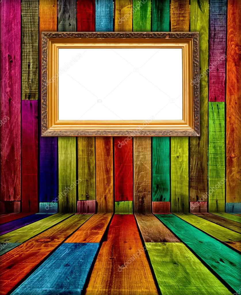 A blank vintage frame in a wooden room — Stock Photo #1148791