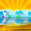 Sun Rays and Cartoon Clouds — Stock Photo #1155780