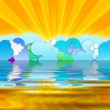 Royalty-Free Stock Photo: Sun Rays and Cartoon Clouds