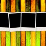 Blank Photos on Wood Background — Stock Photo